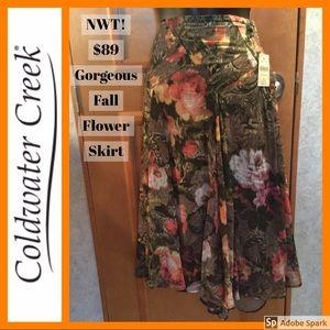 NWT! $89 🌹 🍁 Fall Flower Skirt Coldwater Creek!
